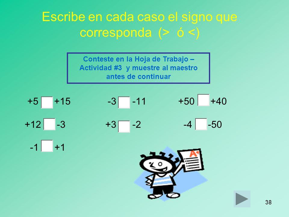 Escribe en cada caso el signo que corresponda (> ó <)