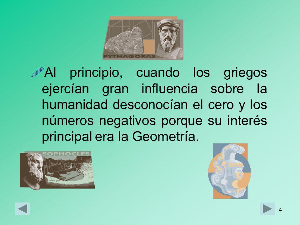 Al principio, cuando los griegos ejercían gran influencia sobre la humanidad desconocían el cero y los números negativos porque su interés principal era la Geometría.