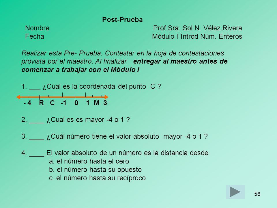 Post-Prueba Nombre Prof.Sra. Sol N. Vélez Rivera.