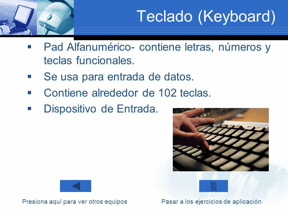 Teclado (Keyboard) Pad Alfanumérico- contiene letras, números y teclas funcionales. Se usa para entrada de datos.