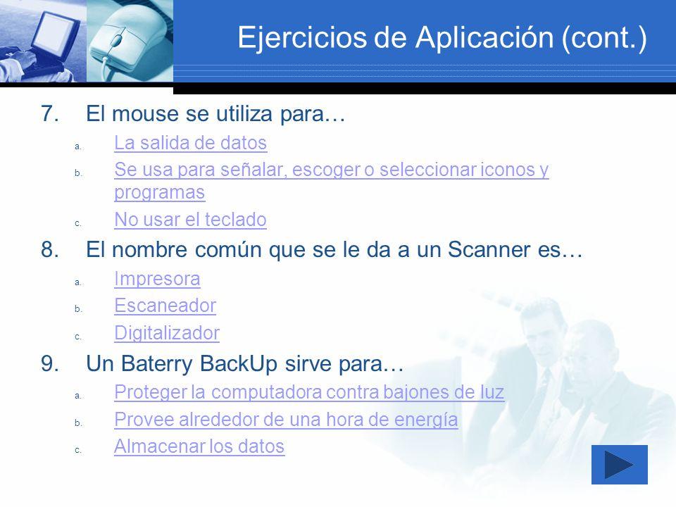 Ejercicios de Aplicación (cont.)