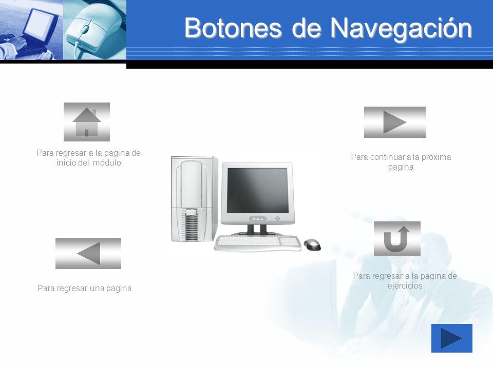 Botones de Navegación Para regresar a la pagina de inicio del módulo
