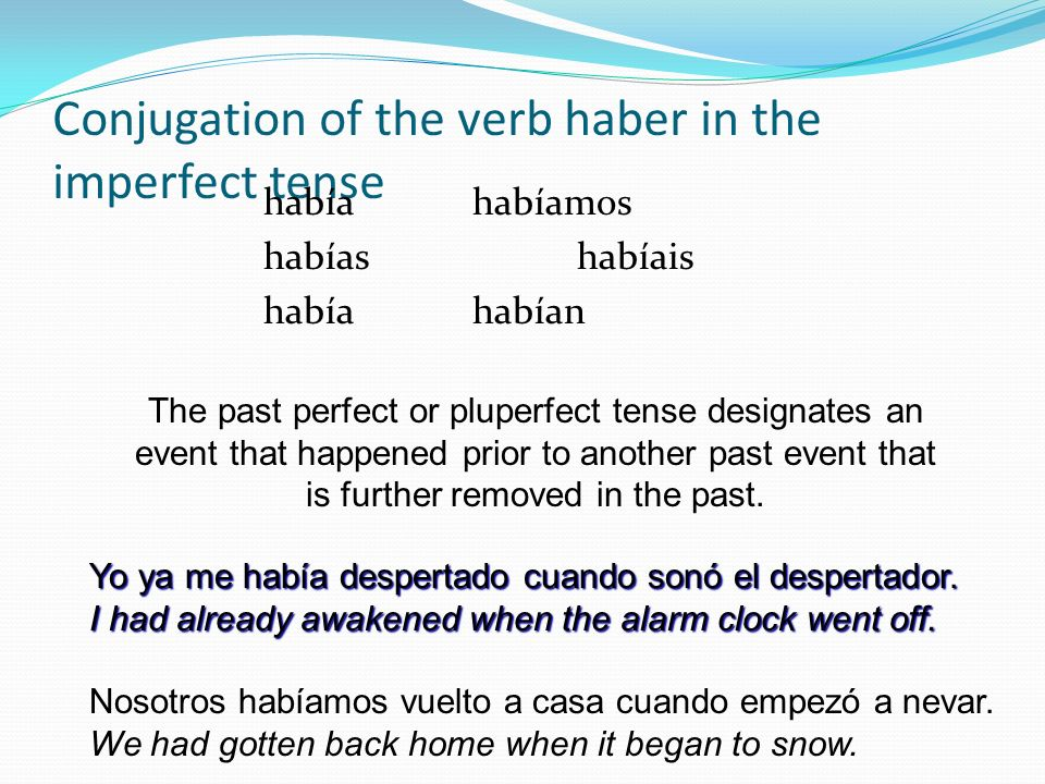 Conjugation of the verb haber in the imperfect tense