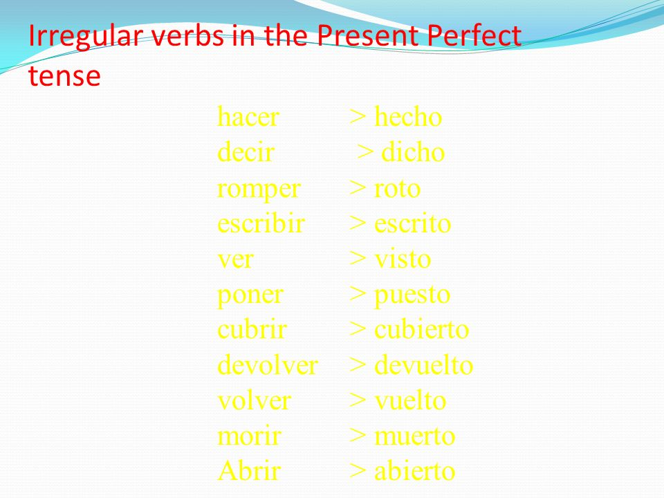 Irregular verbs in the Present Perfect tense