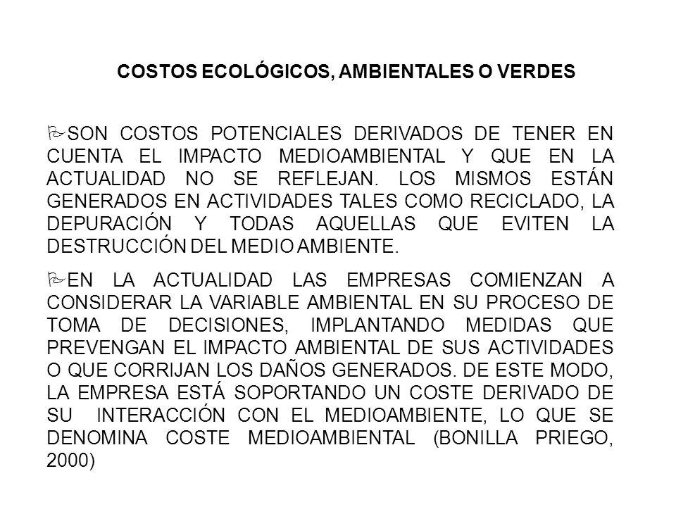 COSTOS ECOLÓGICOS, AMBIENTALES O VERDES