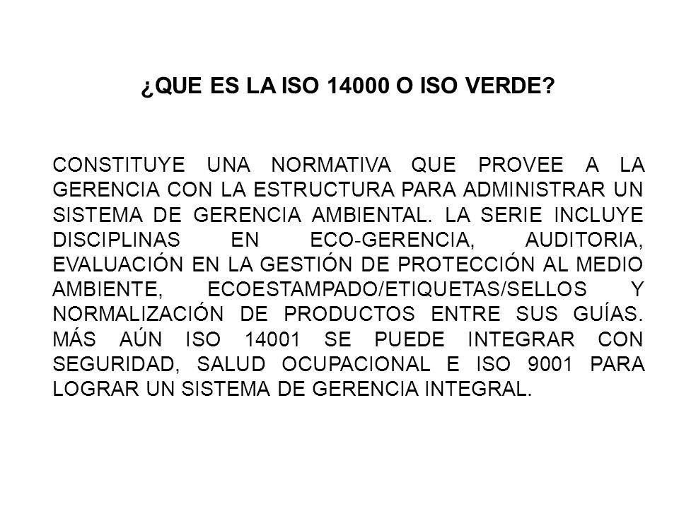 ¿QUE ES LA ISO 14000 O ISO VERDE