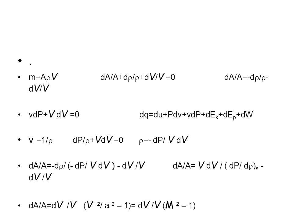 . v =1/r dP/r+VdV =0 r=- dP/ V dV