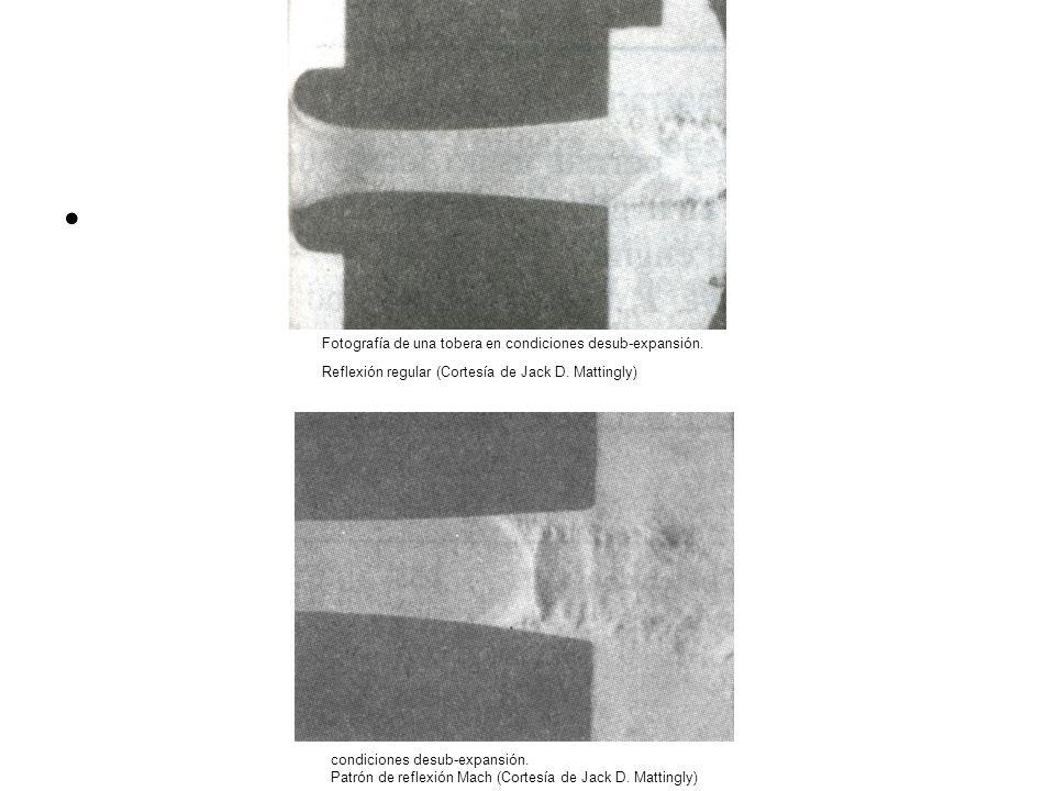 Fotografía de una tobera en condiciones desub-expansión