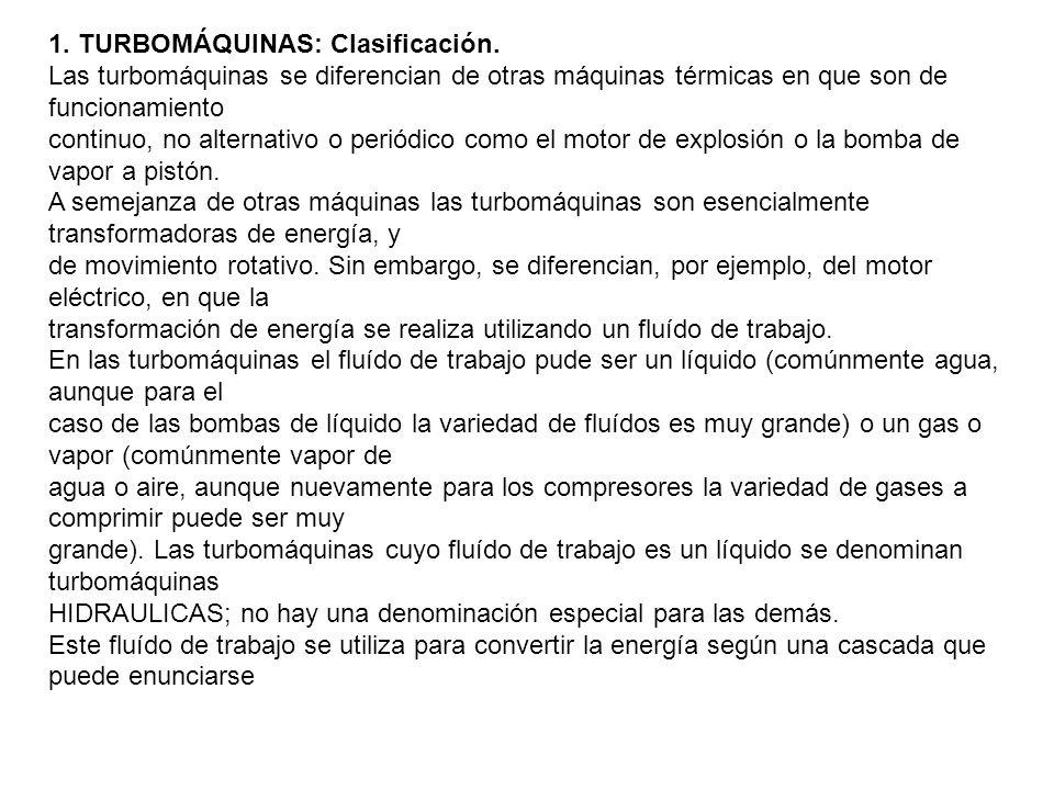 1. TURBOMÁQUINAS: Clasificación.