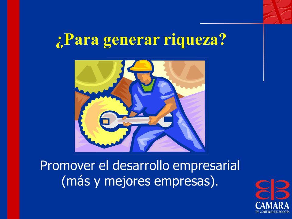 Promover el desarrollo empresarial (más y mejores empresas).
