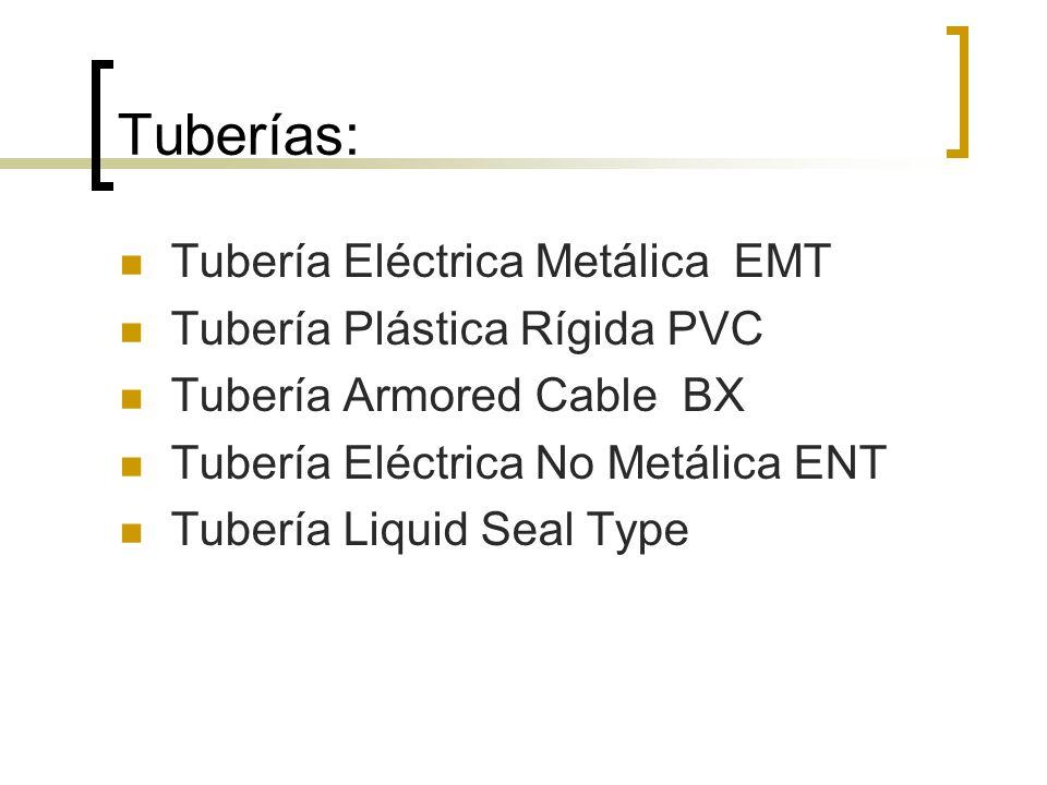 Tuberías: Tubería Eléctrica Metálica EMT Tubería Plástica Rígida PVC