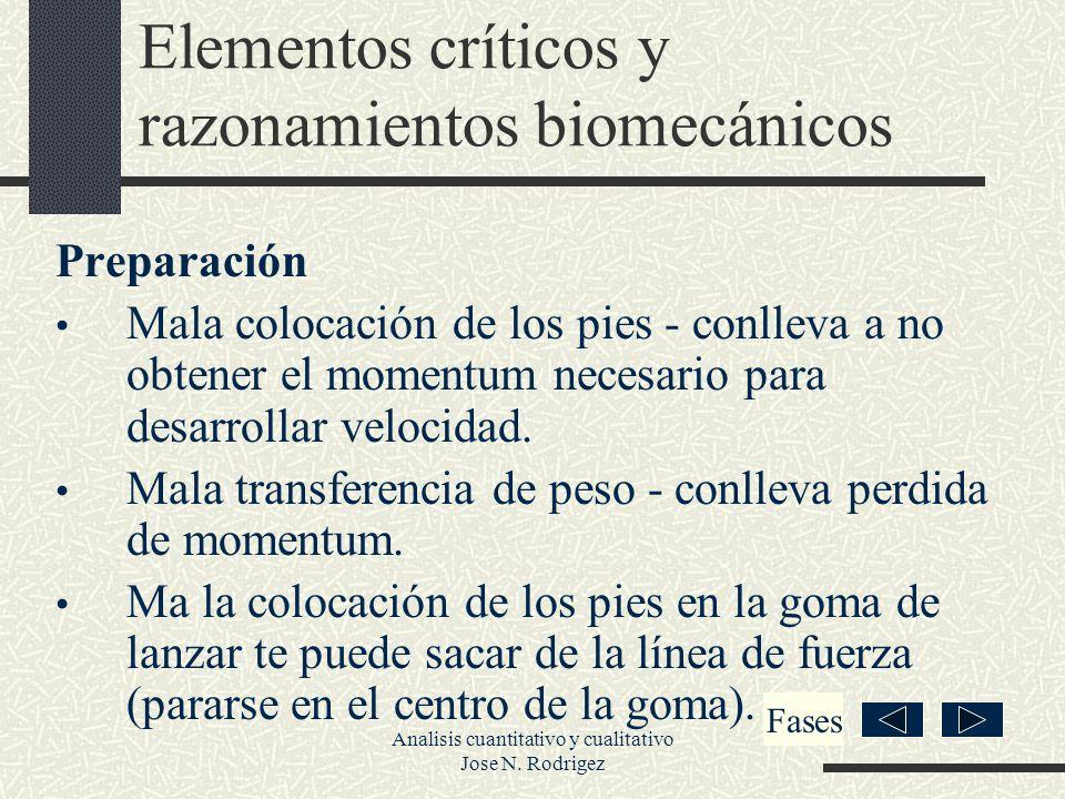 Elementos críticos y razonamientos biomecánicos