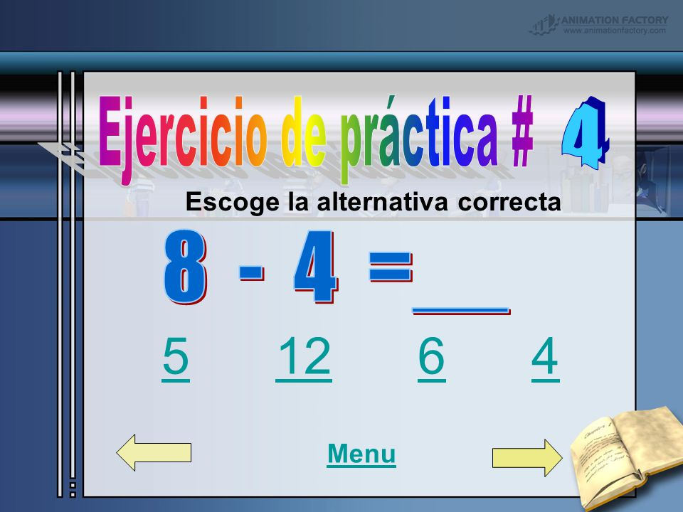 4 8 - 4 =__ Ejercicio de práctica # Ejercicio de práctica #