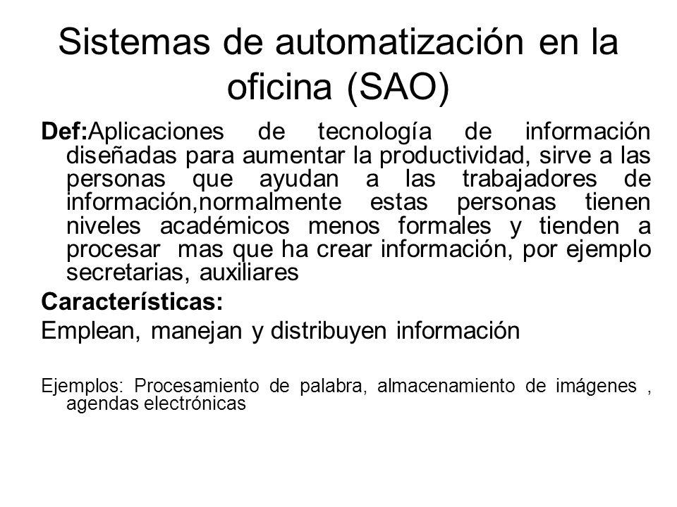 Sistemas de automatización en la oficina (SAO)