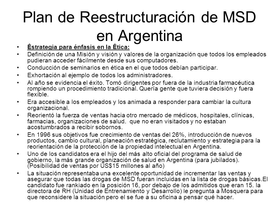 Plan de Reestructuración de MSD en Argentina