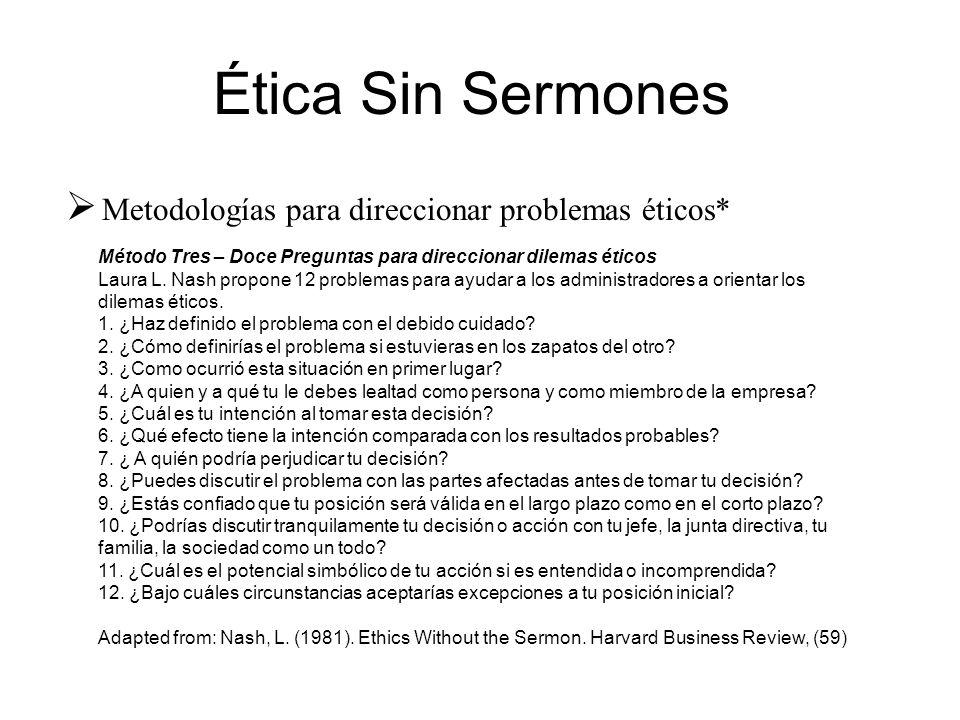 Ética Sin Sermones Metodologías para direccionar problemas éticos*