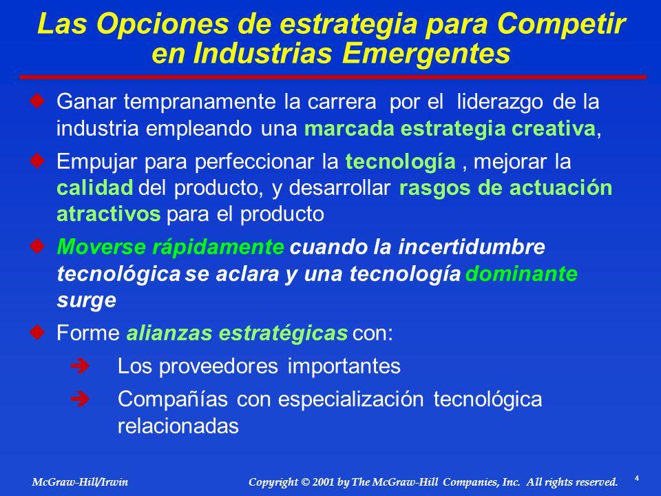 Las Opciones de estrategia para Competir en Industrias Emergentes