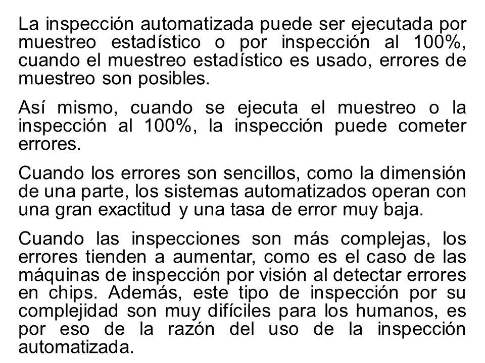 La inspección automatizada puede ser ejecutada por muestreo estadístico o por inspección al 100%, cuando el muestreo estadístico es usado, errores de muestreo son posibles.
