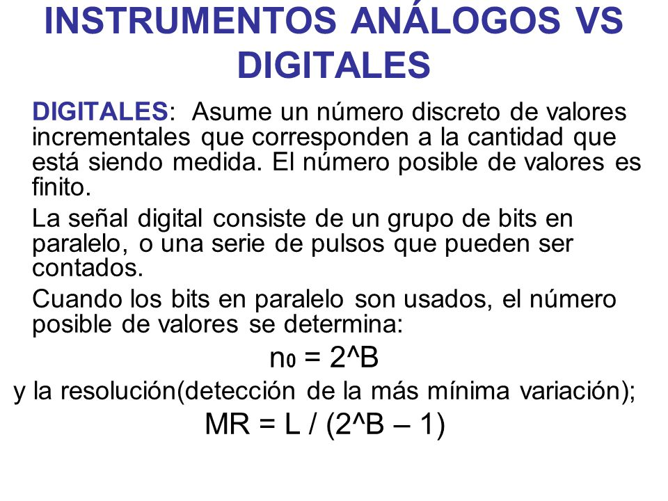 INSTRUMENTOS ANÁLOGOS VS DIGITALES