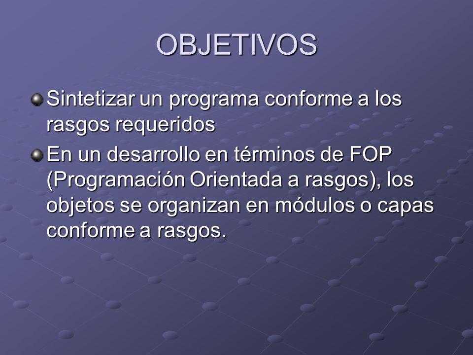 OBJETIVOS Sintetizar un programa conforme a los rasgos requeridos