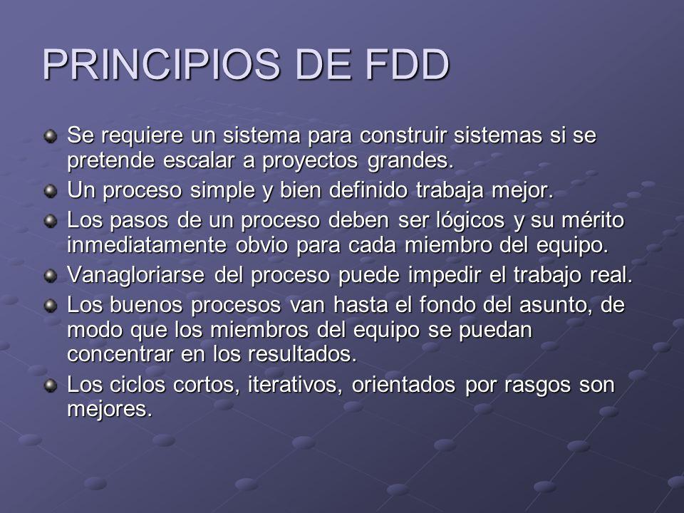 PRINCIPIOS DE FDD Se requiere un sistema para construir sistemas si se pretende escalar a proyectos grandes.