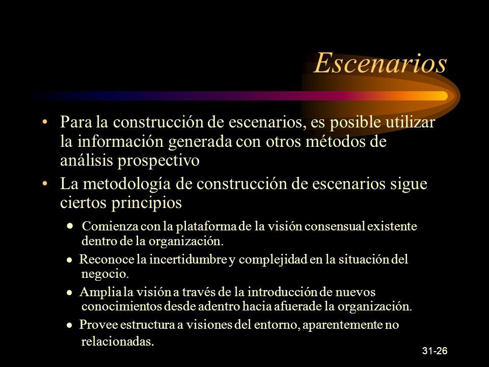 Escenarios Para la construcción de escenarios, es posible utilizar la información generada con otros métodos de análisis prospectivo.