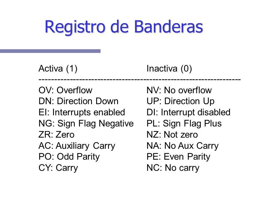 Registro de Banderas Activa (1) Inactiva (0)