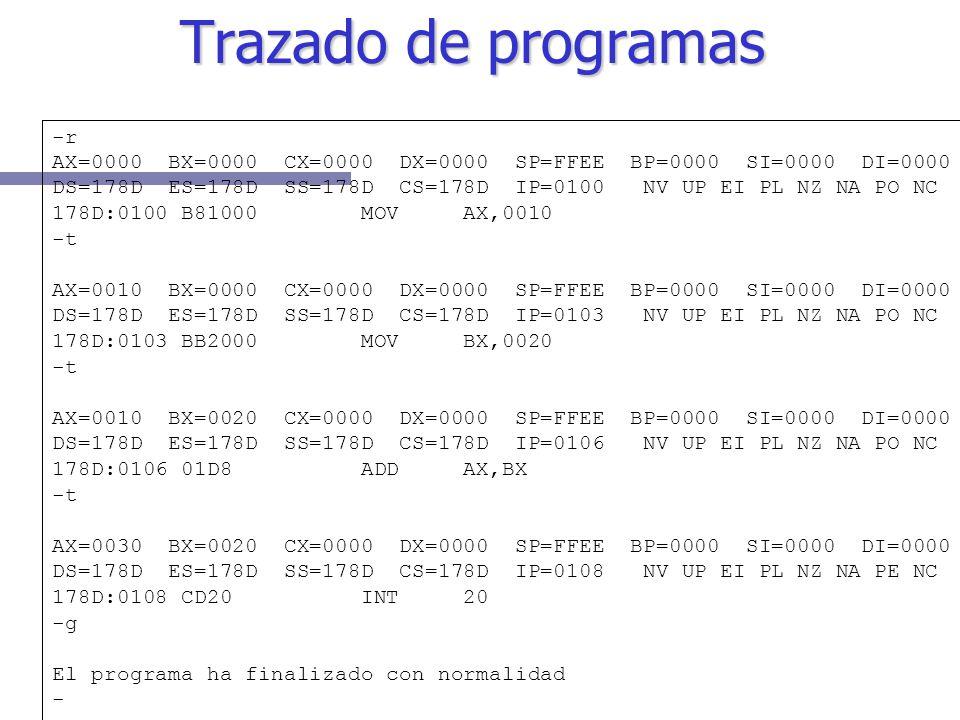 Trazado de programas -r