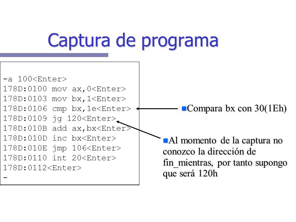 Captura de programa Compara bx con 30(1Eh)