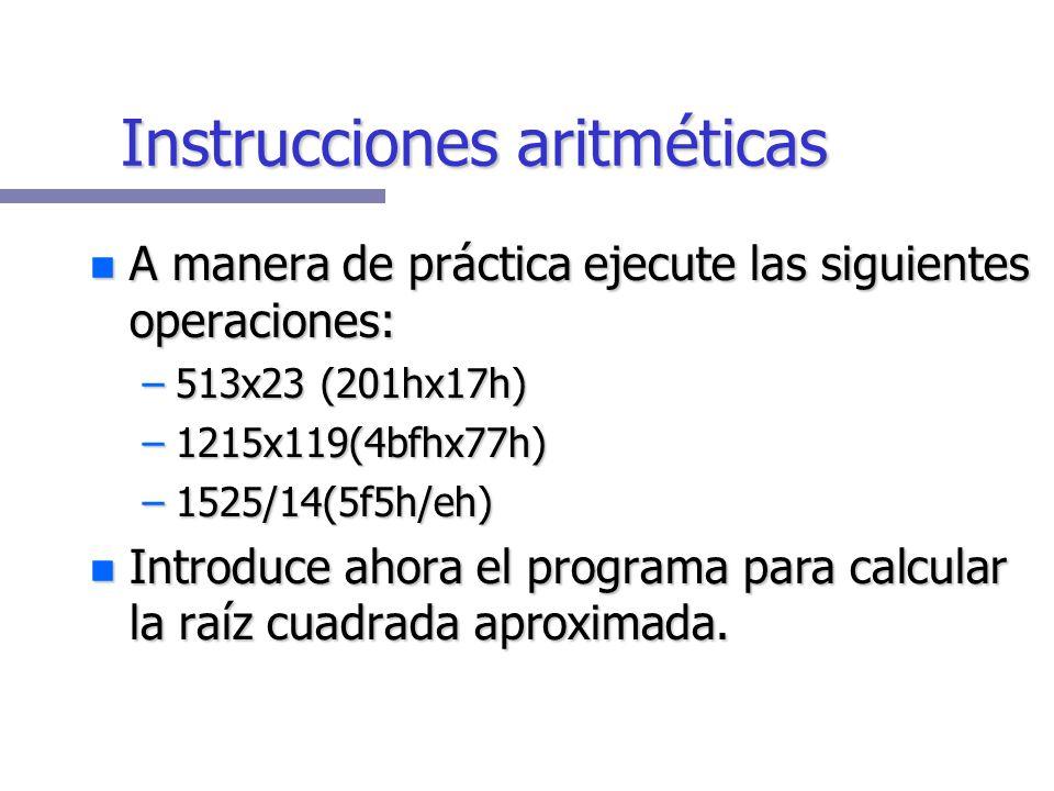 Instrucciones aritméticas