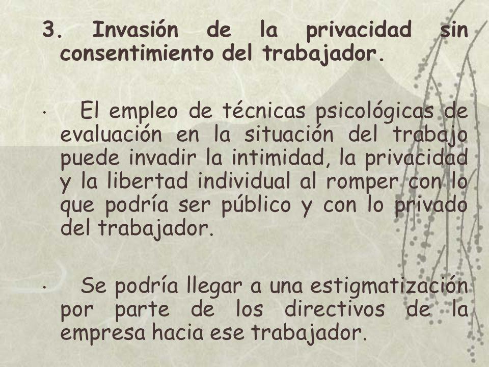 3. Invasión de la privacidad sin consentimiento del trabajador.