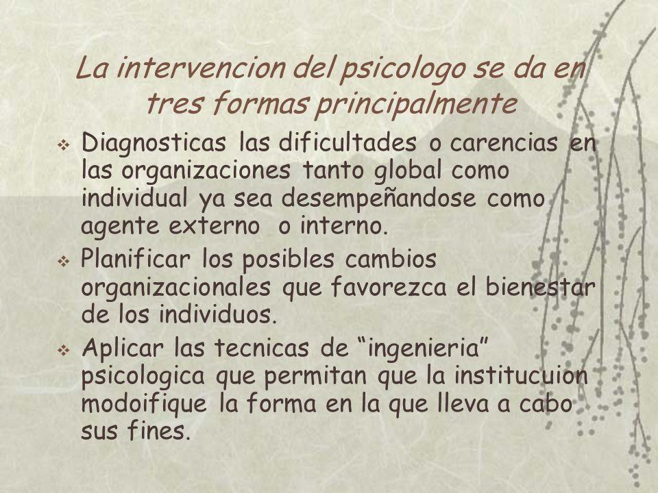 La intervencion del psicologo se da en tres formas principalmente