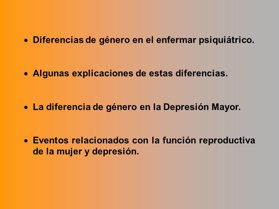 Diferencias de género en el enfermar psiquiátrico.