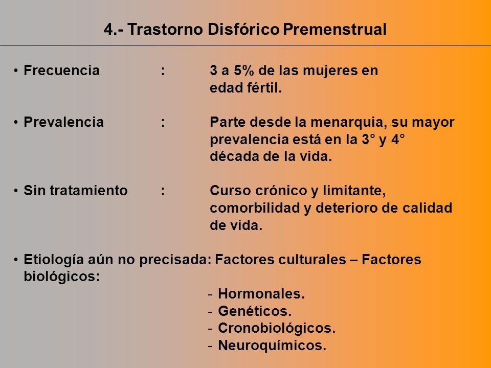 4.- Trastorno Disfórico Premenstrual