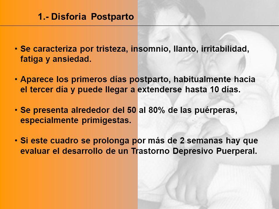 1.- Disforia Postparto Se caracteriza por tristeza, insomnio, llanto, irritabilidad, fatiga y ansiedad.