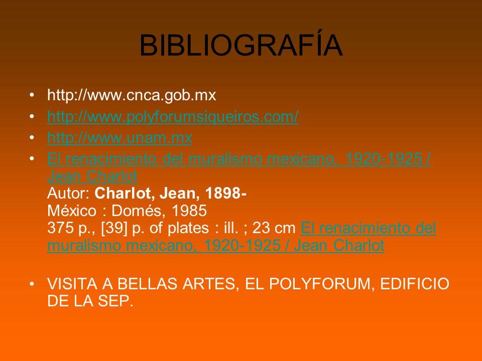 BIBLIOGRAFÍA http://www.cnca.gob.mx http://www.polyforumsiqueiros.com/