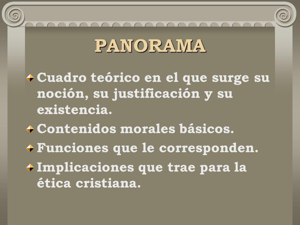 PANORAMA Cuadro teórico en el que surge su noción, su justificación y su existencia. Contenidos morales básicos.