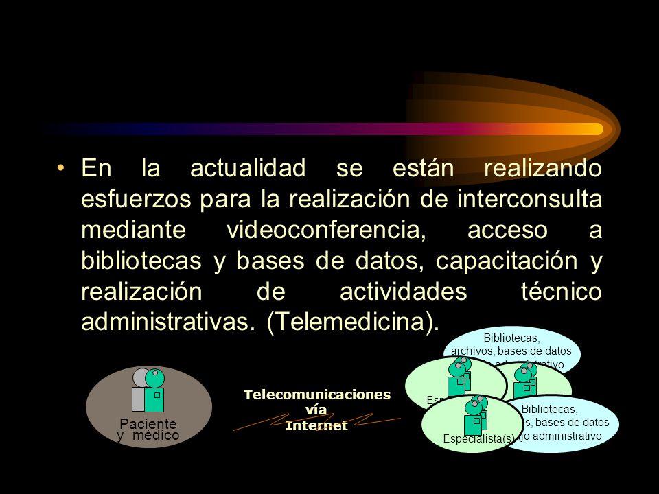 En la actualidad se están realizando esfuerzos para la realización de interconsulta mediante videoconferencia, acceso a bibliotecas y bases de datos, capacitación y realización de actividades técnico administrativas. (Telemedicina).