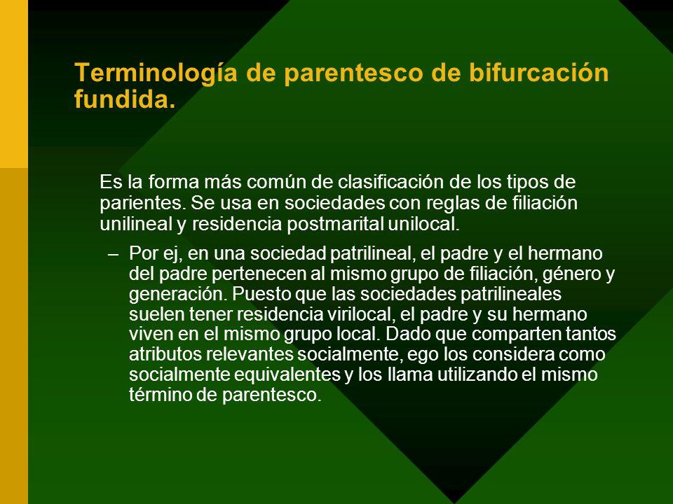 Terminología de parentesco de bifurcación fundida.