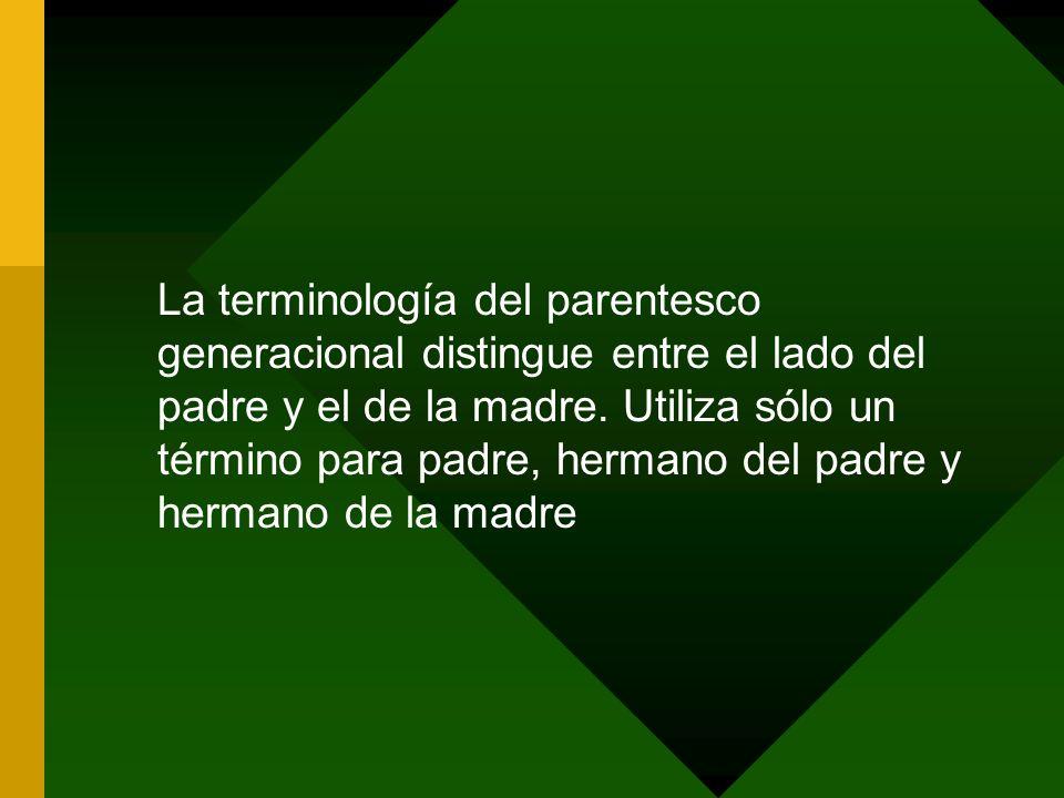 La terminología del parentesco generacional distingue entre el lado del padre y el de la madre.