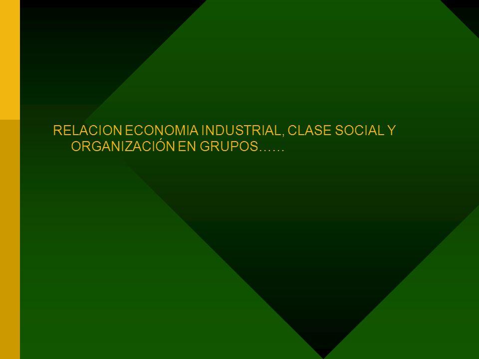 RELACION ECONOMIA INDUSTRIAL, CLASE SOCIAL Y ORGANIZACIÓN EN GRUPOS……