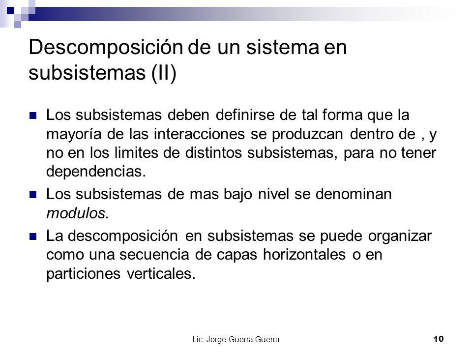 Descomposición de un sistema en subsistemas (II)