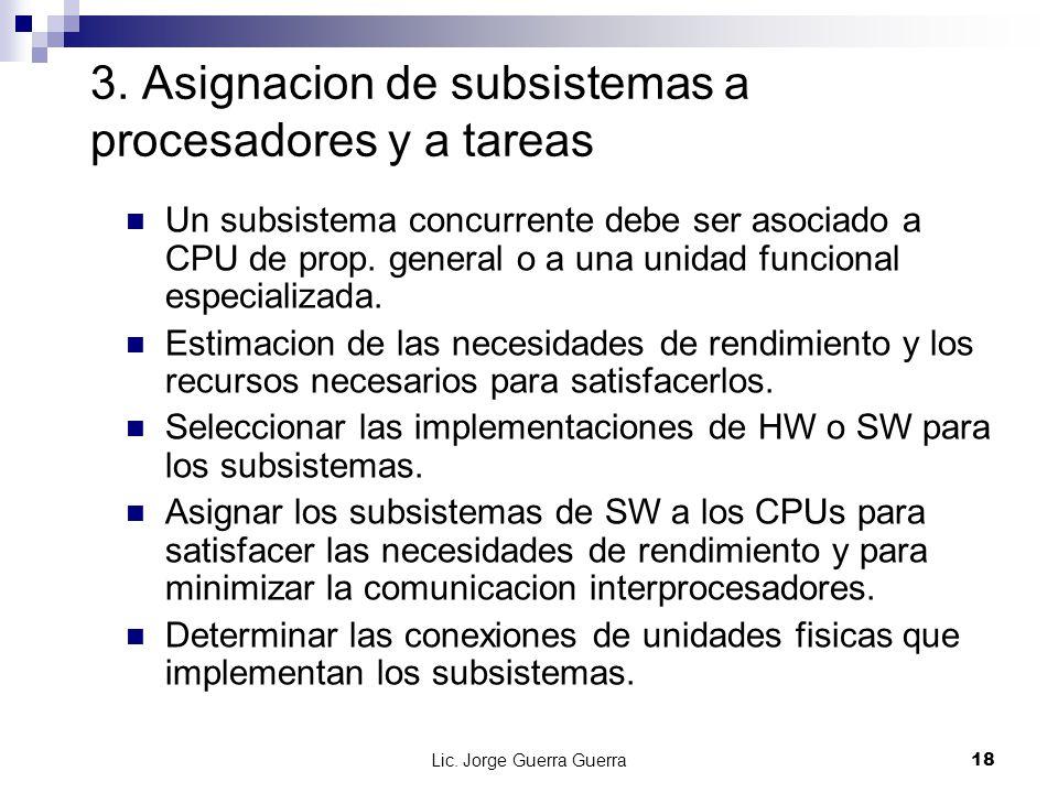 3. Asignacion de subsistemas a procesadores y a tareas