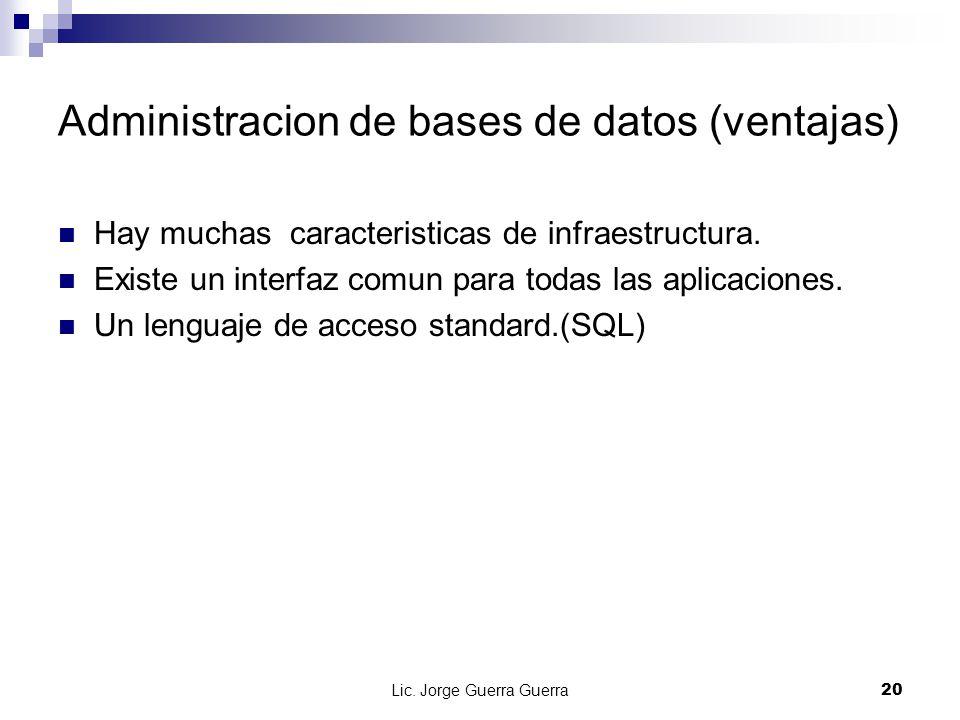 Administracion de bases de datos (ventajas)