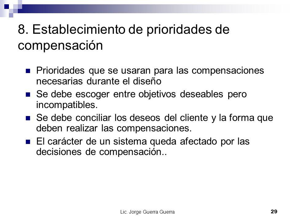 8. Establecimiento de prioridades de compensación