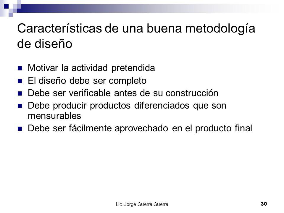 Características de una buena metodología de diseño