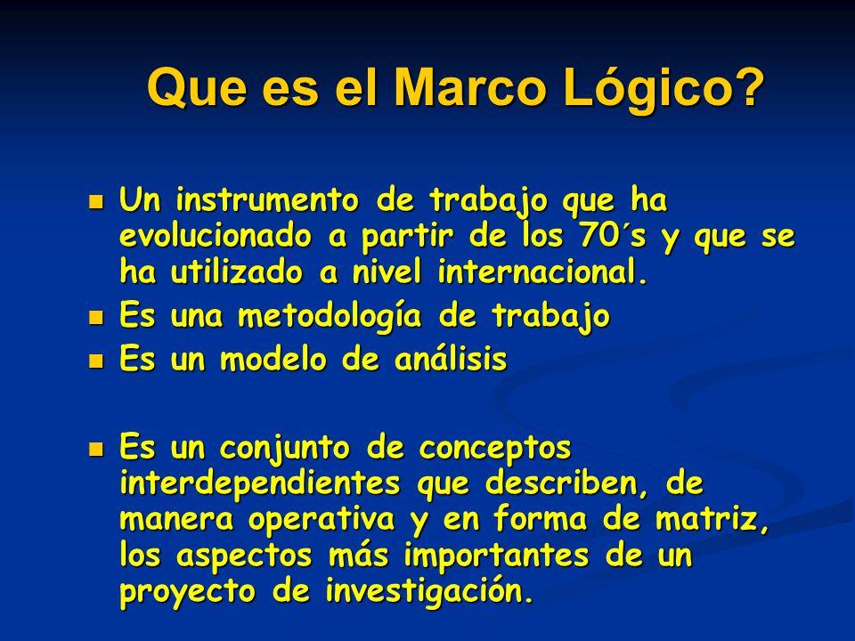 Que es el Marco Lógico Un instrumento de trabajo que ha evolucionado a partir de los 70´s y que se ha utilizado a nivel internacional.