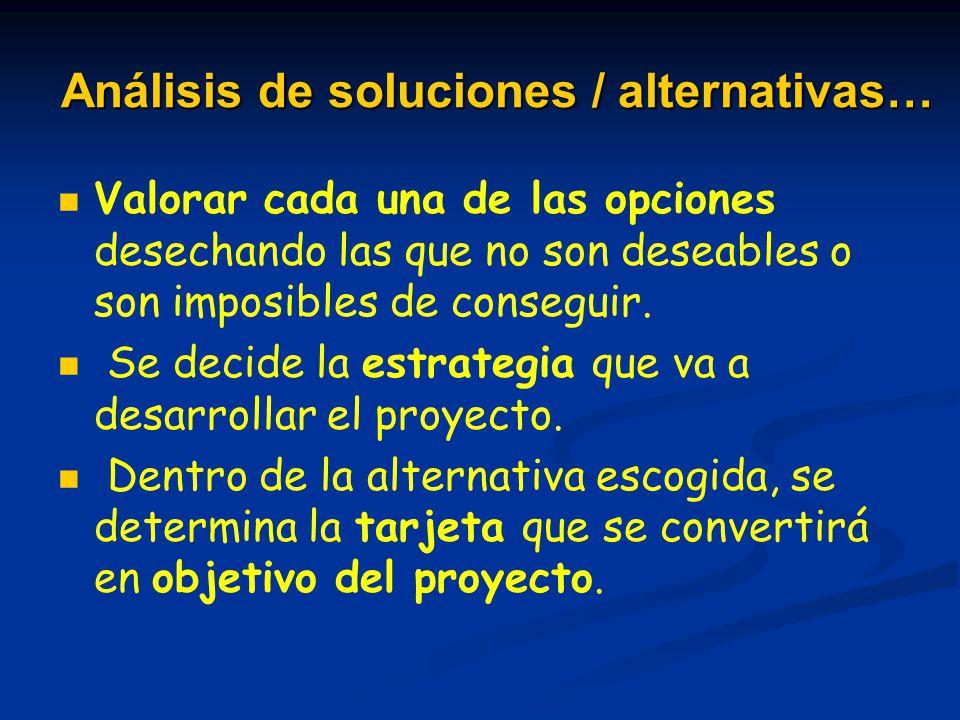 Análisis de soluciones / alternativas…