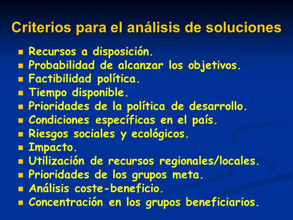 Criterios para el análisis de soluciones