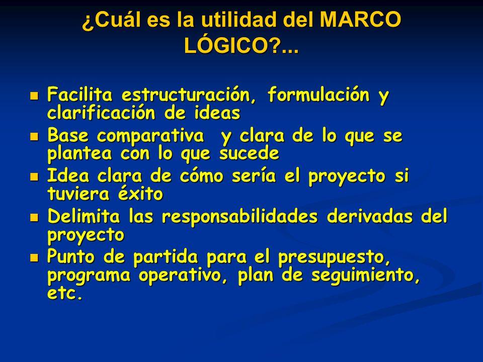 ¿Cuál es la utilidad del MARCO LÓGICO ...